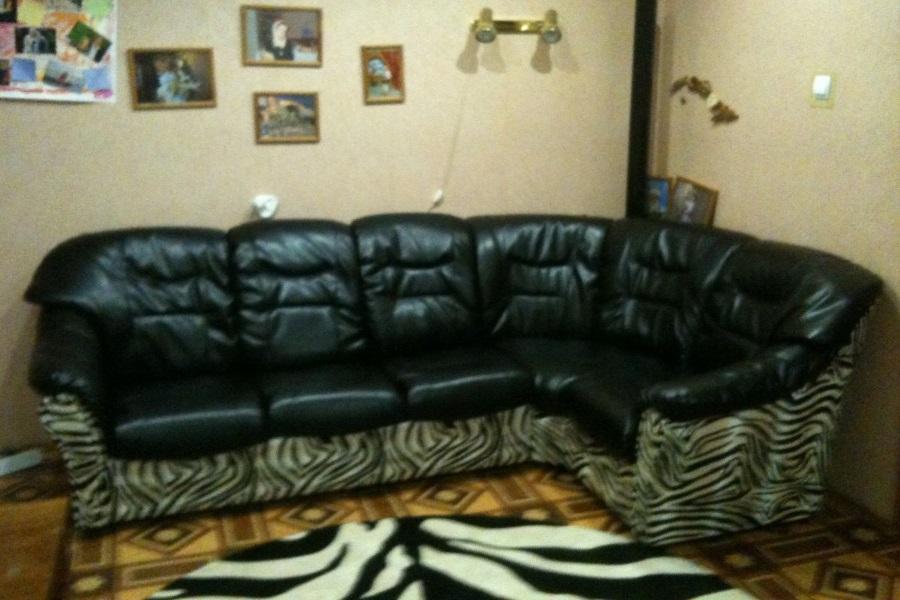 Перетяжка кожанного углового дивана №17